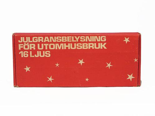 Joulukuusen valot, ulkokäyttöön 1970-luvulta. Toimivat