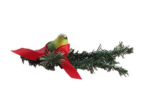 Vanha joulukoriste, lintu ja oksa