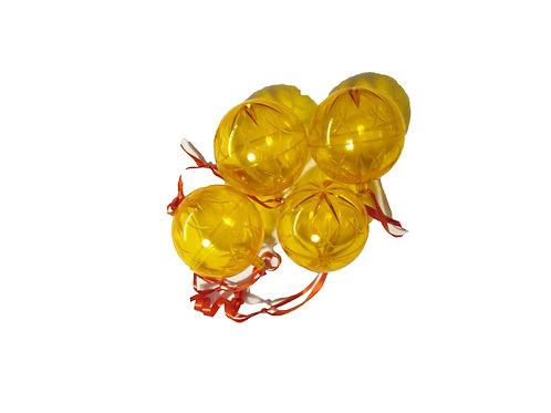 Erikoisia vanhoja keltaisia joulukuusen koristepalloja. 50mm, 4kpl