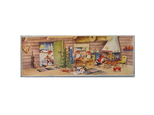 Joulupaperitaulu, tonttu-ukko tuo sisälle puuropataa