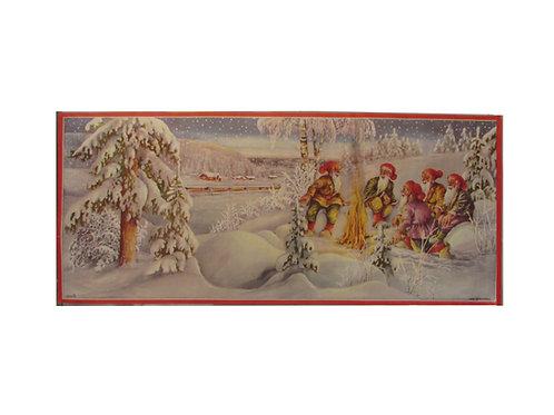 Joulupaperitaulu, tonttu-ukot nuotiolla ja juna taustalla. Erik Forsman