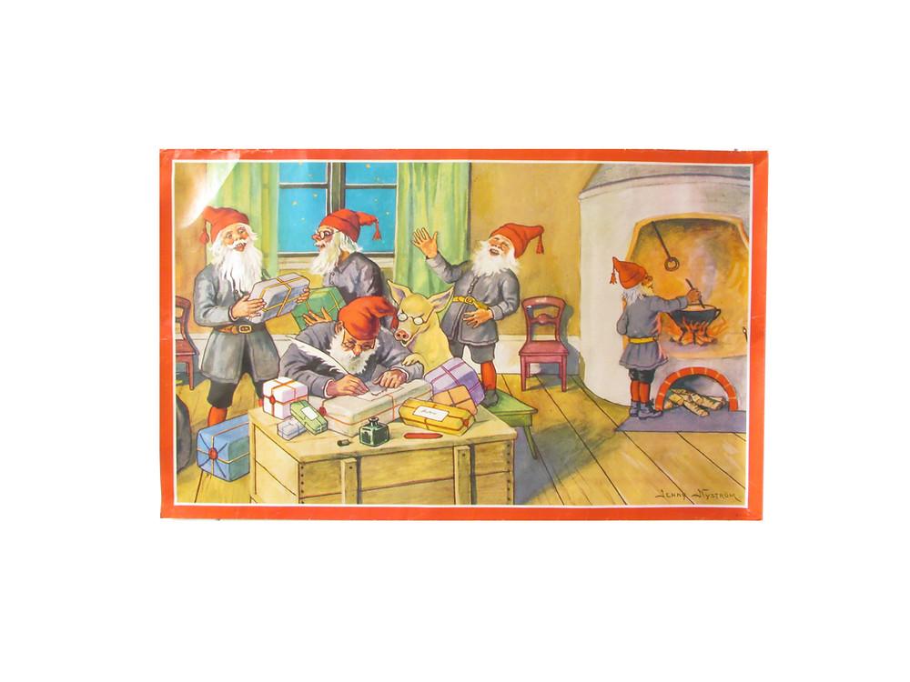 Paperitaulu, seinäpaperi, joulupaperitaulu, Jenny Nyström