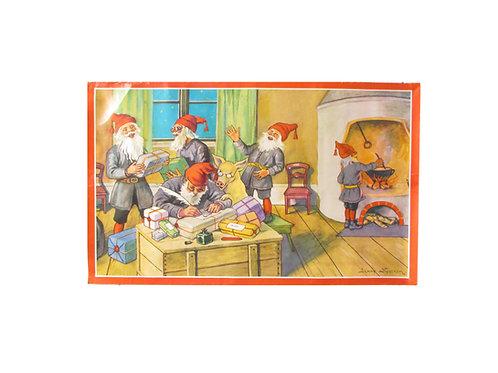 Joulupaperitaulu, tontut paketoivat lahjoja pirtissä. Jenny Nyström paperitaulu
