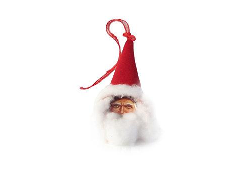 Joulupukin pää, desing joulukoriste, joulukuusen koriste