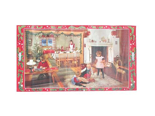 Vanha joulupaperitaulu -50 luvulta. Jouluaatto, lapset leikkii