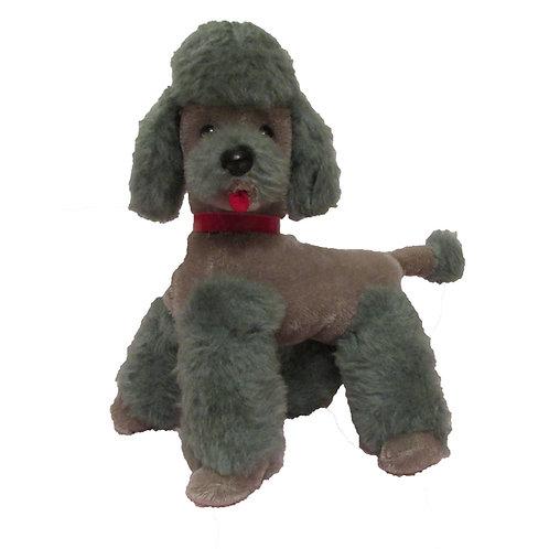 Vanha lelu -50 luvulta. Puudeli pehmolelu koira, harmaa