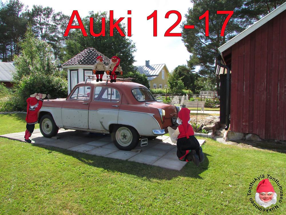 Veteraaniauto, vanha auto, Mosse Skandinavia -63, puutarhakoriste, piha ja puutarha, maalaistalo, huvimaja, joulukoristeet, joulutonttu, lato, auton korjaaminen