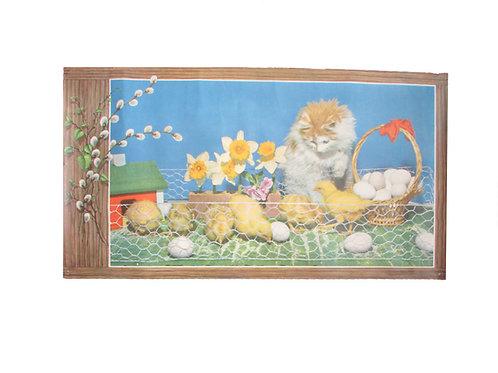 Vanha pääsiäispaperi taulu -50 luvulta. Kissa, munakori ja tiput