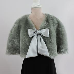 Greta - Silver Faux Fur/Bow