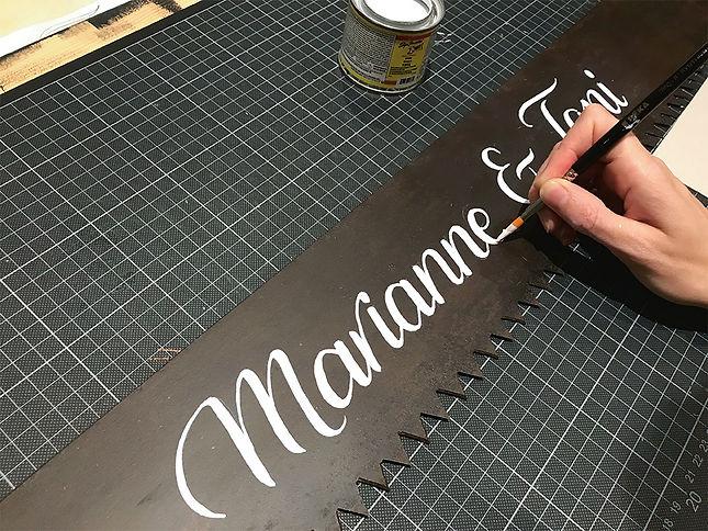 Hochzeit Säge Sign Painting