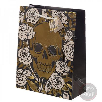 Geschenktüte - Totenkopf mit Rosen - groß