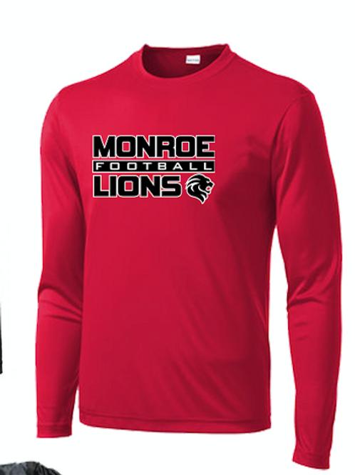 Monroe Lions Long Sleeve Dri Fit Tshirt - RED