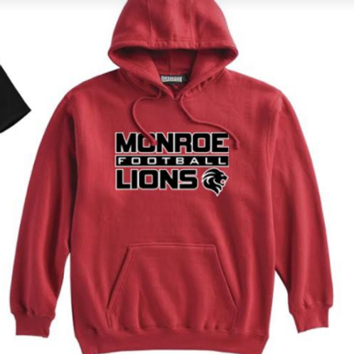 Monroe Lions Hoodie with Name & Number  -Red