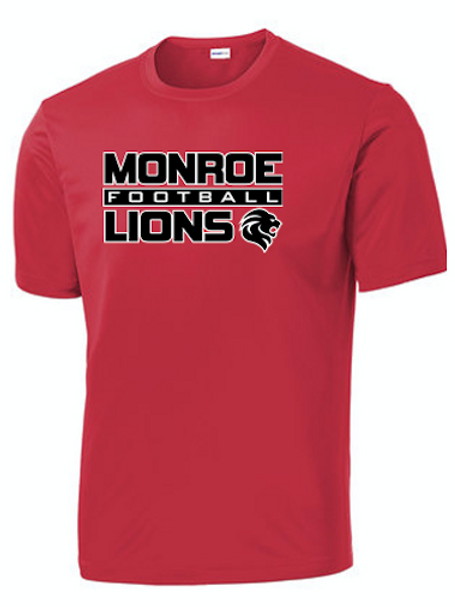 Monroe Lions Dri Fit Short Sleeve Tshirt - RED
