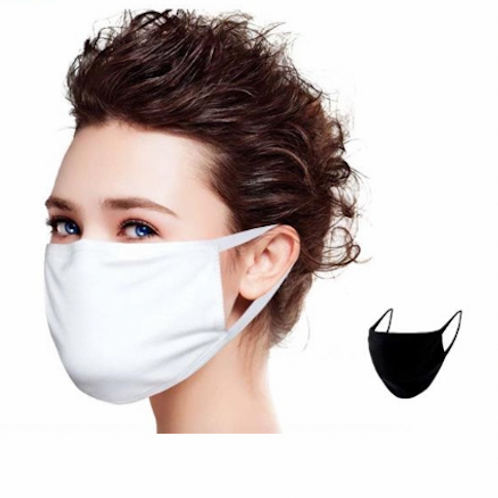 Triple Layered Cotton Face Mask Family Pack (12 BLACK))