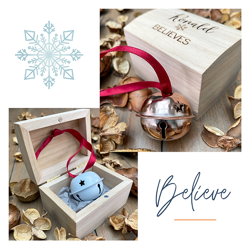 'Believe' Jingle Bell with Personalised Box