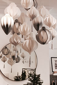 The White Company in store and window displays, vm props, tassels, roosettes