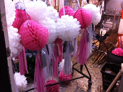 Wedding Yurt Paper Pom Poms UK
