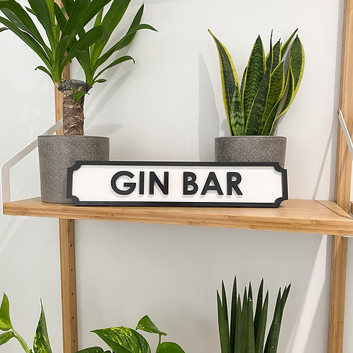 GIN BAR | 40cm Vintage Style Street Sign