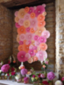 Paper rosettes, paper fans, rosettes uk, wedding backdrop uk