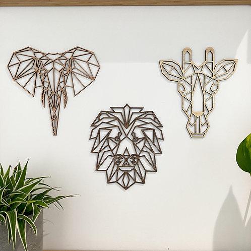 Set of 3 - Safari Animals Wall Art