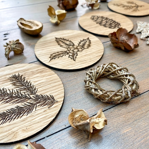 Winter Foliage Wooden Coasters
