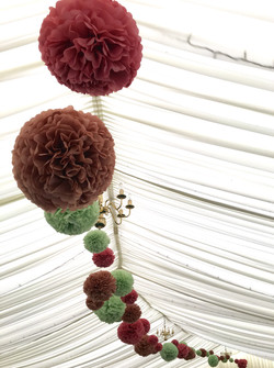 Pom Pom Install in Curved Marquee