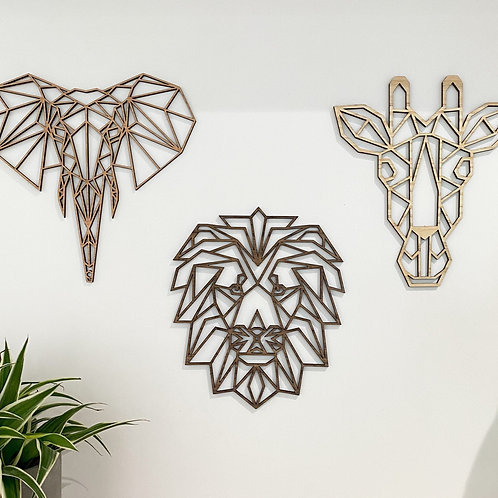Set of 3 Geometric Safari Wall Art