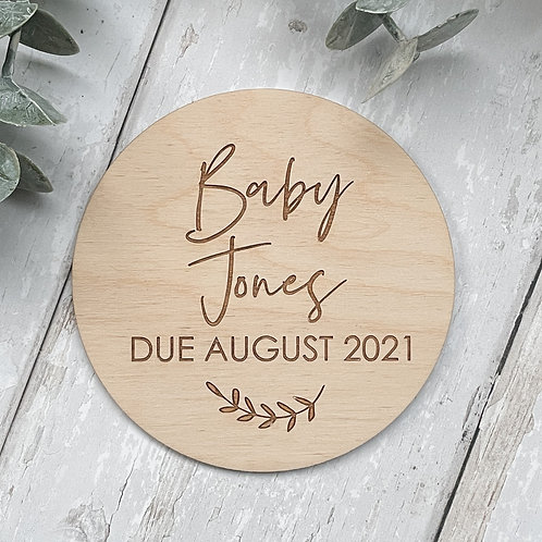 Personalised 'Baby Due' Disc