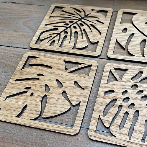 Set of 4 Square Wooden Leaf Coasters
