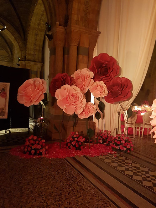 Giant paper roses for a wedding at the Natural History Museum