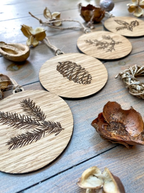 Winter Foliage Wooden Tree Ornaments