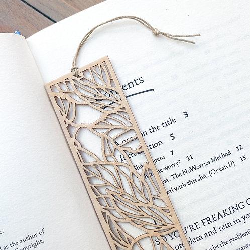 Floral Leaf Wooden Bookmark