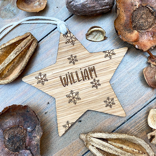 Personalised Star and Snowflake Bauble/Gift Tag