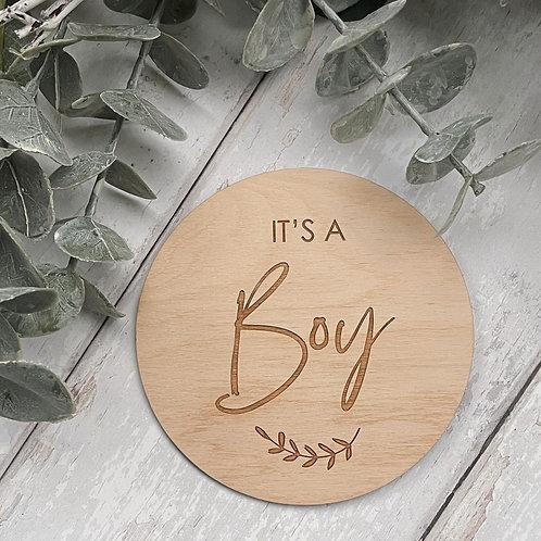 'It's a Boy' Wooden Disc