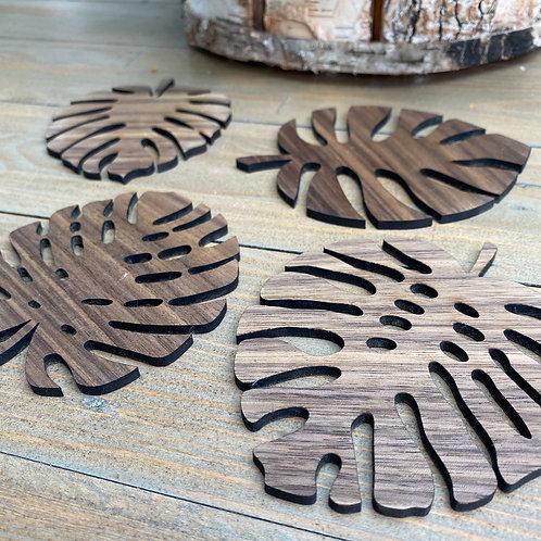 Set of 4 Wooden Leaf Coasters