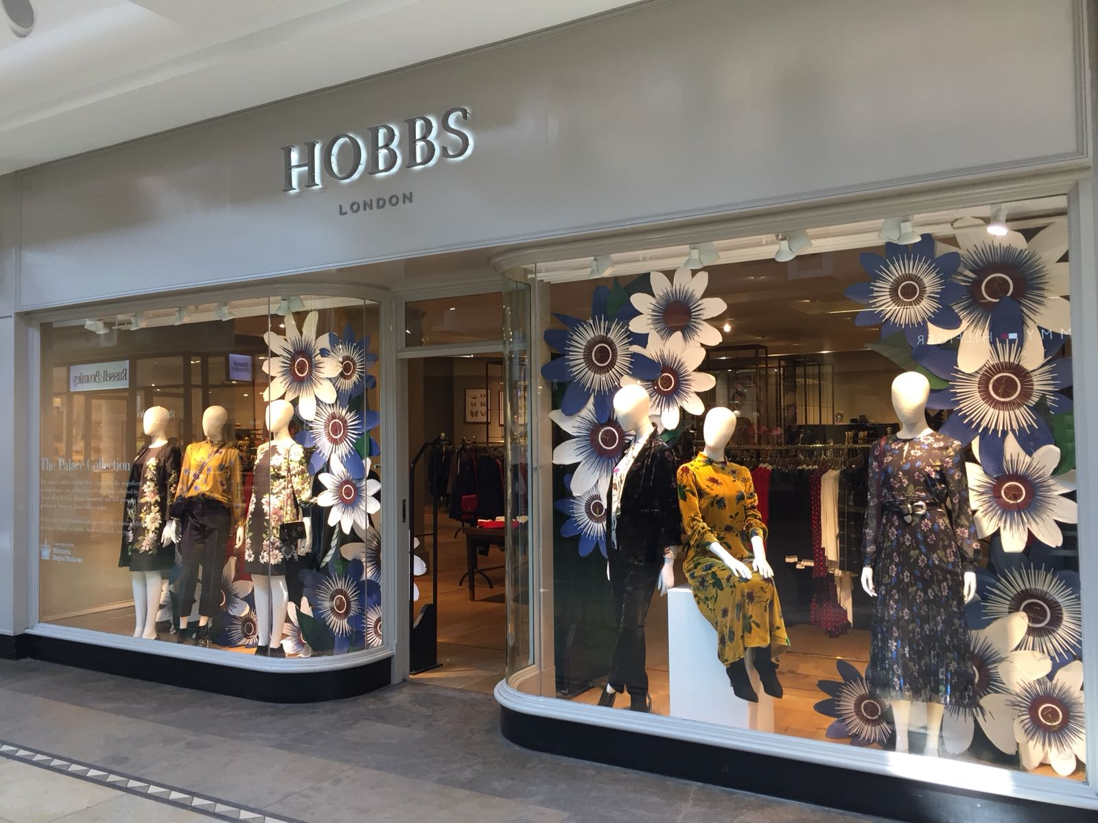 Bespoke passionflowers for Hobbs window display