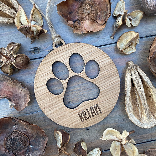 Personalised Dog Paw Print Bauble