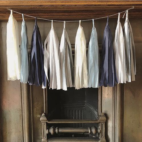 Moody blue tassel garlands