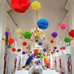 Rainbow Party Poms & Balloons