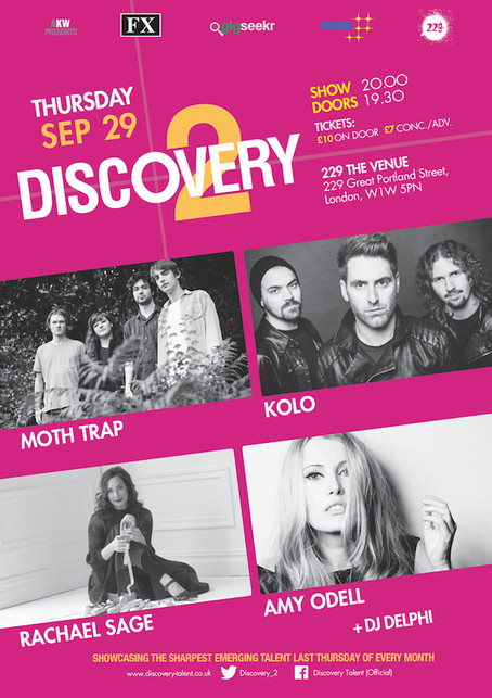 Thur 29th Sep: Discovery 2 Showcase ft KOLO, MOTH TRAP, RACHAEL SAGE & AMY ODELL