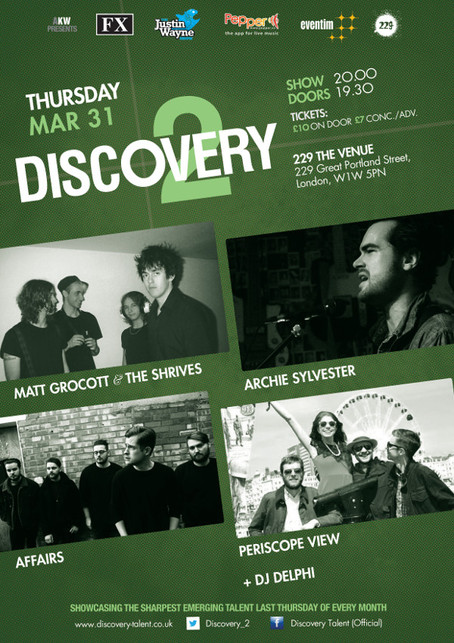 Thur 31st March 2016: Matt Grocott & The Shrives, Affairs, Archie Sylvester and Periscope View