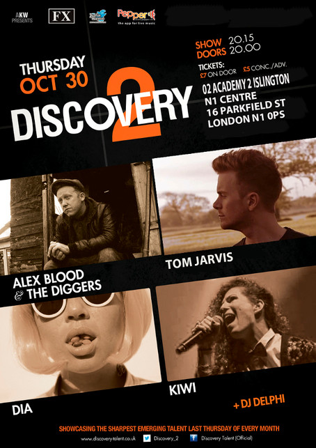 Alex Blood & The Diggers + DIA + Tom Jarvis + Kiwi - Thur 30th Oct 2014