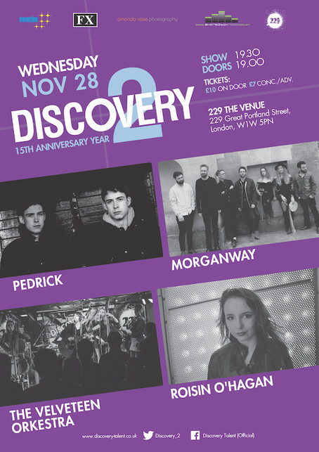 Wednesday 28th November 2018: Discovery 2 presents The Velveteen Orkestra, Morganway, Pedrick ,  Roi
