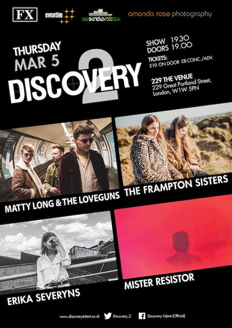 Thur 5th March 2019: Discovery2 presents The Frampton Sisters, Matty Long & The LoveGuns, Erika