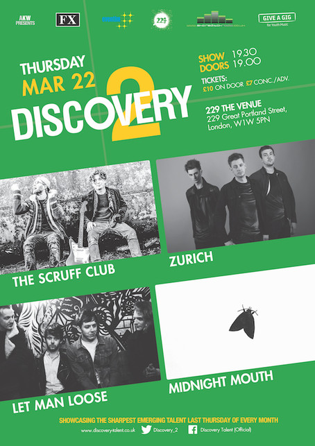 Thur 22nd Mar 2018. #Give A Gig Week. Discovery2 presents The Scruff Club, Zurich, Let Man Loose, Mi