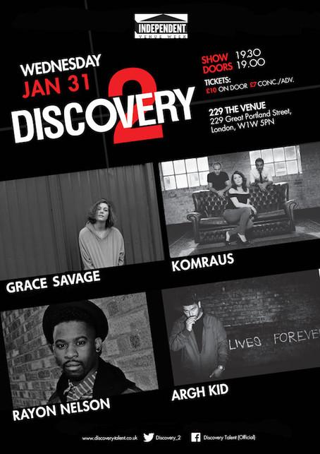 Wed 31st Jan 2018: IVW18 Discovery 2 - Grace Savage, Komraus, Rayon Nelson, ARGH KID