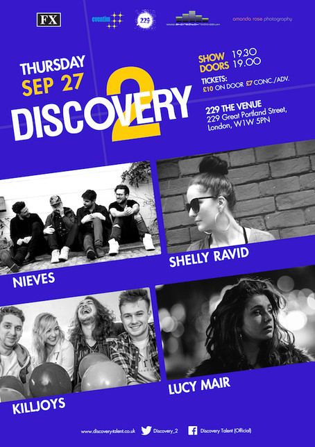 Thur 27th Sep 2018: Discovery2Presents Neives, Shelly Ravid, Killjoys, Lucy Mair