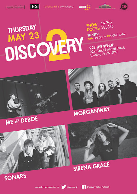 Thur 23rd May 2019: Discovery2 presents Me & Deboe, Morganway, Sonars, Síréna Grace