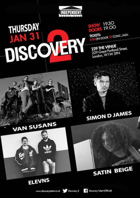Thur 31st Jan 2019: IVW19 Discovery2 ft Simon D James, Van Susans, Satin Beige, Elevns